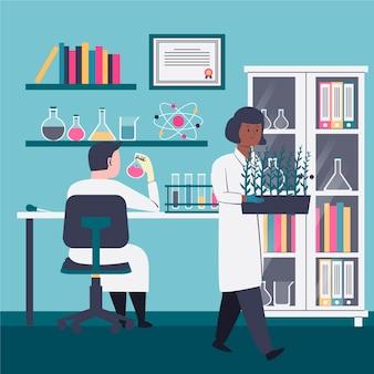 Pessoas em casacos trabalhando em um laboratório de ciências