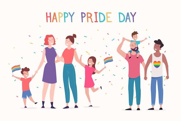 Pessoas em casais e famílias comemorando o dia do orgulho