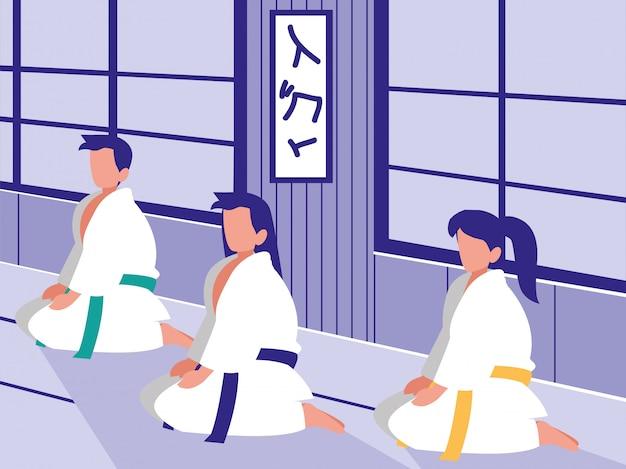 Pessoas em cena de dojo de artes marciais
