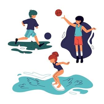 Pessoas em cenas diferentes fazendo esporte