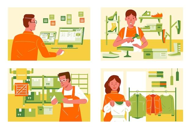 Pessoas em diferentes empregos e em diferentes lugares