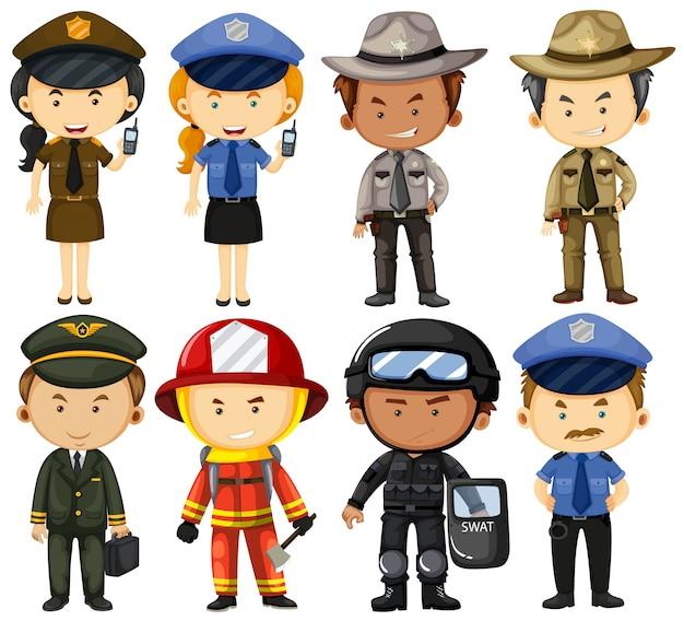 Pessoas em diferentes uniformes de trabalho