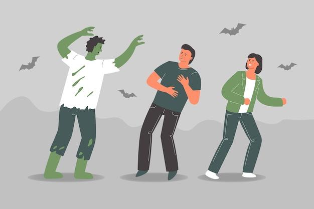 Pessoas em fantasias de halloween assustador