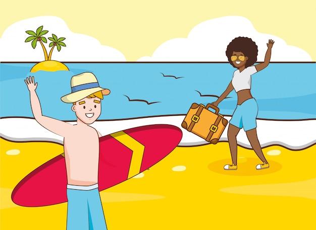 Pessoas em férias de praia