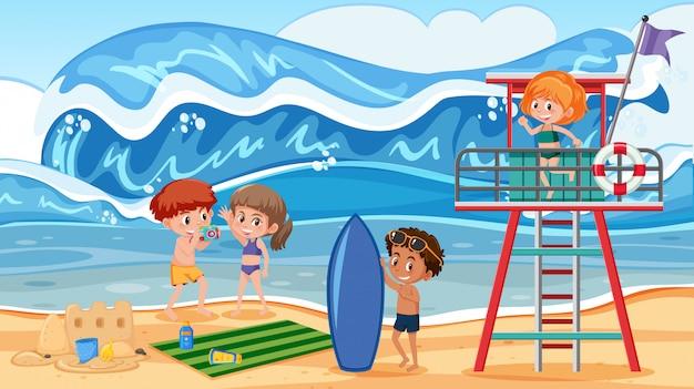 Pessoas em férias de verão