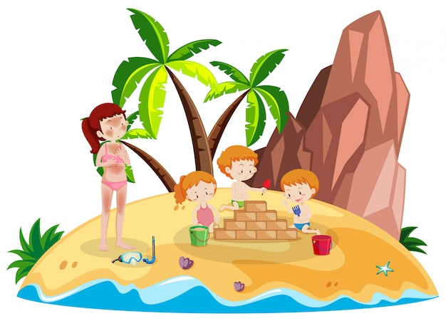 Pessoas em férias na ilha