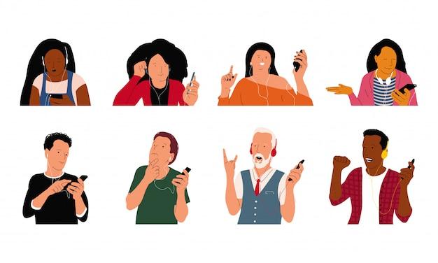 Pessoas em fones de ouvido ouvindo personagens de desenhos animados de vetor de música conjunto isolado.