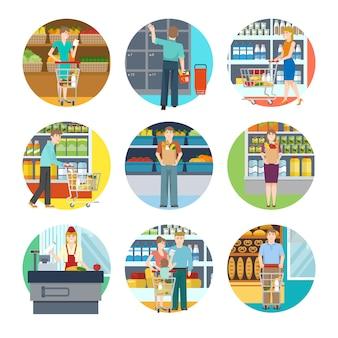 Pessoas em ícones de supermercado