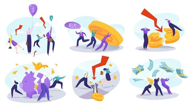 Pessoas em ilustrações de crise financeira