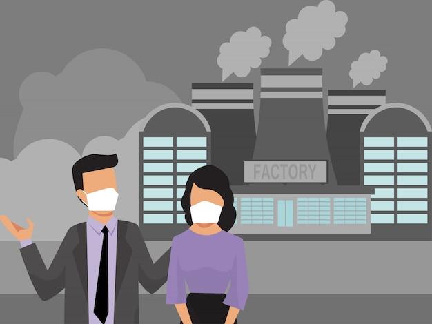 Pessoas em máscaras fábrica poluição poluentes. poluição industrial da fumaça do ar e pessoas urbanas. moradores da cidade em máscaras de proteção médica