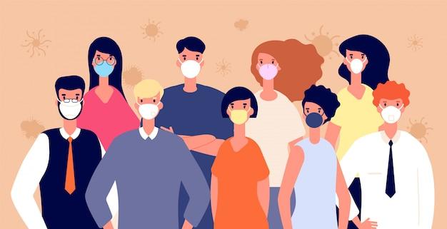 Pessoas em máscaras médicas. . homem mulher vestindo ilustração individual de proteção à saúde, covid-19 ou coronavírus