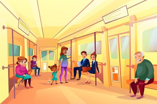 Pessoas, em, metrô, metro, ilustração, de, homem idoso, e, mulher
