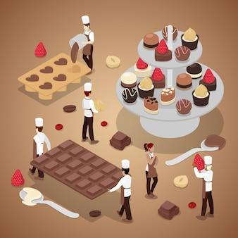 Pessoas em miniatura fazendo bombons de chocolate