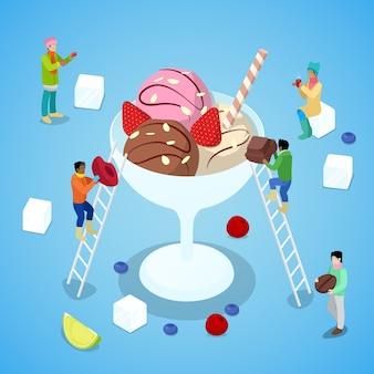 Pessoas em miniatura fazendo sorvete com chocolate e morango