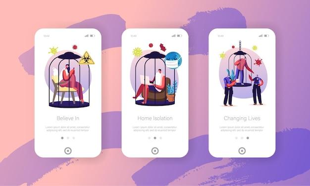 Pessoas em modelos de tela de página de aplicativo móvel de isolamento residencial.