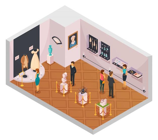 Pessoas, em, museu, corredor