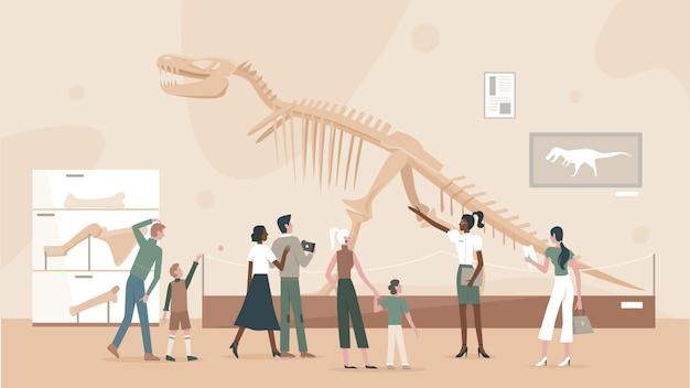 Pessoas em museu de paleontologia