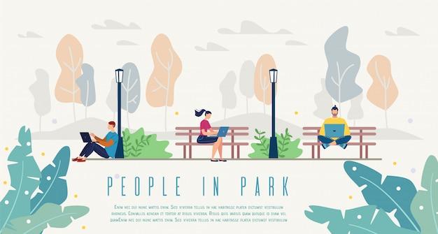 Pessoas, em, parque cidade