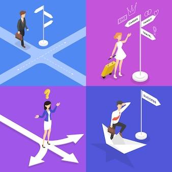 Pessoas em pé na encruzilhada e conjunto de pensamento. empresário escolher direção do caminho. escolha difícil da estratégia futura. ilustração isométrica