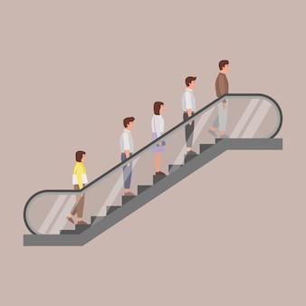 Pessoas em pé na escada rolante. .