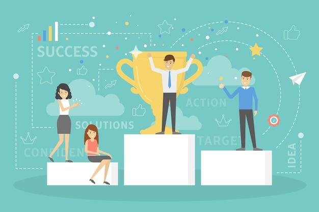 Pessoas em pé no pedestal comemoram o sucesso. vencedor da competição com uma taça de troféu de ouro. ideia de crescimento e realização. plano