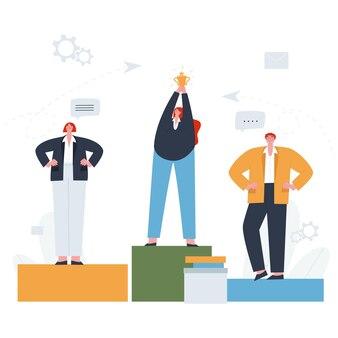 Pessoas em pé sobre um pedestal o vencedor com a taça de ouro em primeiro lugar conceito de trabalho em equipe flat