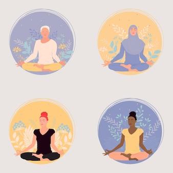 Pessoas em posição de lótus praticam ioga