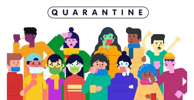 Pessoas em quarentena por causa da ilustração pandêmica de coronavírus