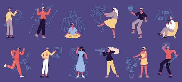 Pessoas em realidade virtual. personagens masculinos e femininos em fones de ouvido vr, jogo de aprendizagem