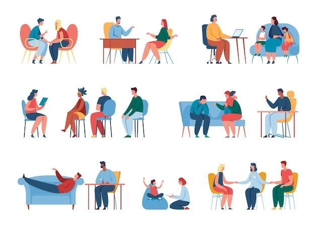 Pessoas em sessão de terapia com psicólogo aconselhamento psicologia psicoterapeuta profissional