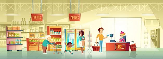 Pessoas, em, supermercado, interior, caricatura, vetorial