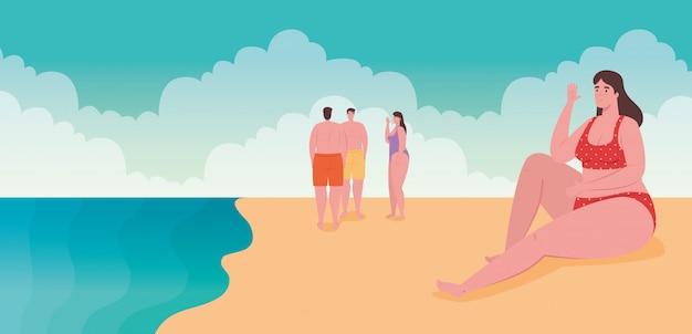 Pessoas em traje de banho, homens com mulheres na praia, temporada de férias de verão