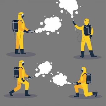 Pessoas em traje ou roupa protetora, spray para vírus de limpeza e desinfecção, doença secreta 19, medida preventiva