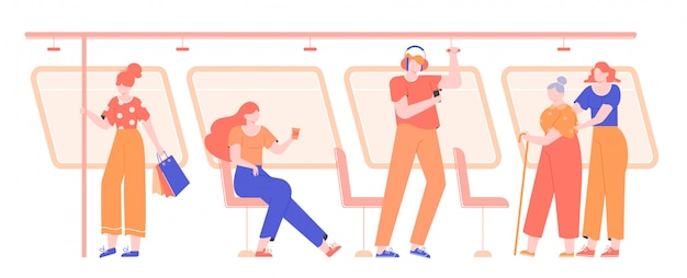 Pessoas em transporte público. metrô, ônibus, bonde.