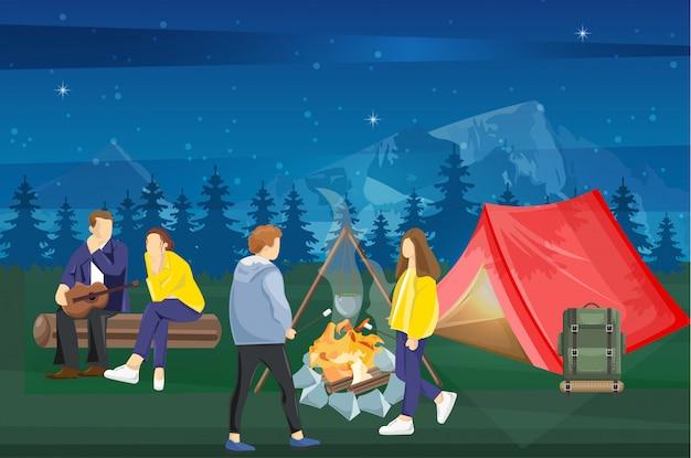 Pessoas em um piquenique no meio da noite