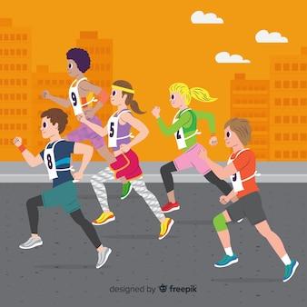 Pessoas em uma corrida de maratona