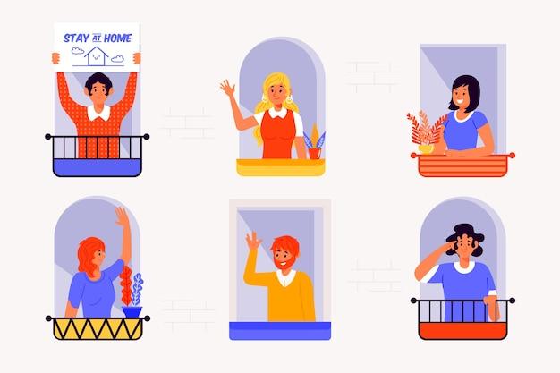 Pessoas em varandas ou janelas em quarentena