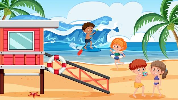Pessoas, em, verão, praia, feriado