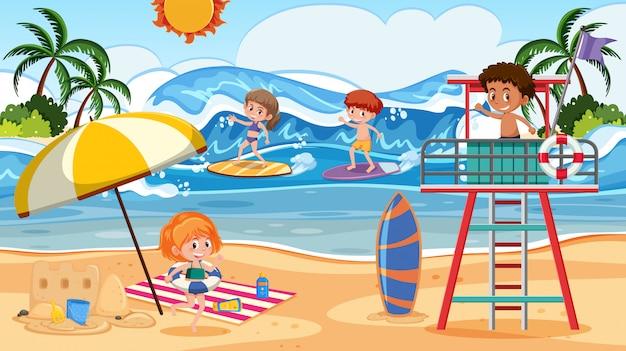 Pessoas, em, verão, praia