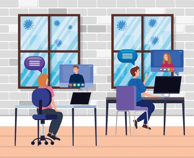 Pessoas em videoconferência durante o projeto de ilustração covid 19