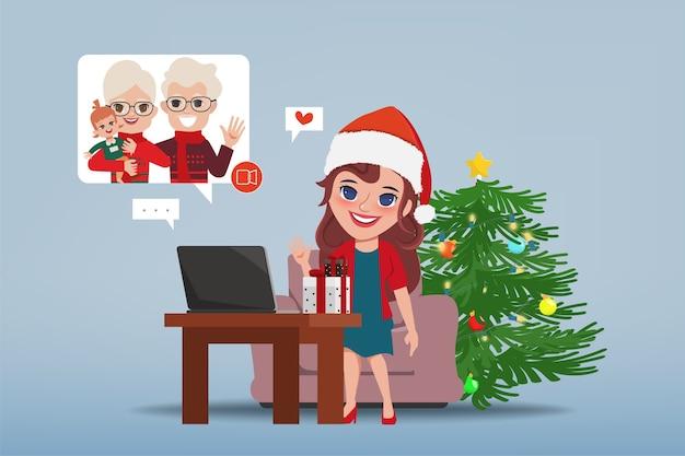 Pessoas em videoconferência nas férias de natal.