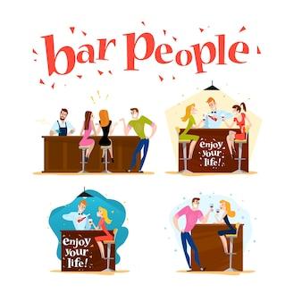 . . pessoas engraçadas e fofas na mesa do café, mesa de bar. menino e menina sentada no restaurante em um encontro. festa noturna. garçom, personagens visitantes.