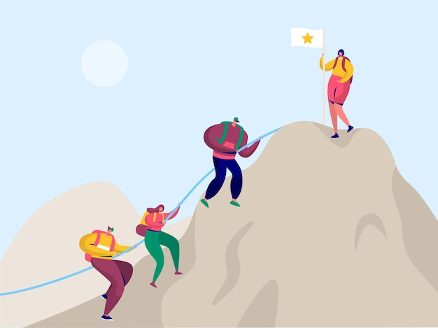 Pessoas escalam a montanha rochosa para a bandeira da vitória.