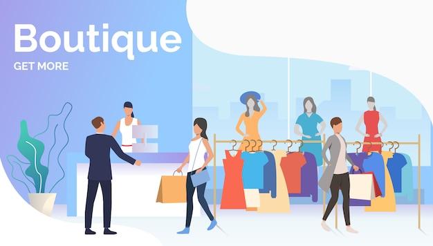 Pessoas escolhendo e comprando roupas na boutique