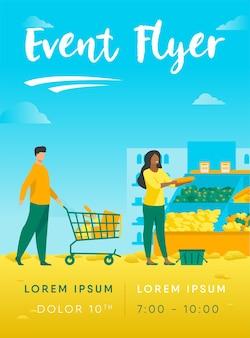 Pessoas escolhendo produtos em modelo de folheto de supermercado