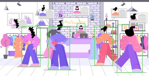 Pessoas escolhendo roupas em shopping da moda moderna e identificação por sistema de vigilância por câmera de vigilância por cctv