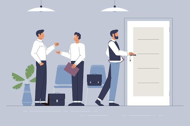 Pessoas esperando entrevista de emprego