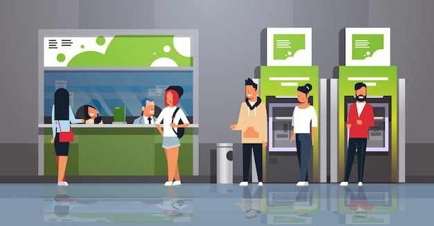 Pessoas esperando linha caixa dinheiro