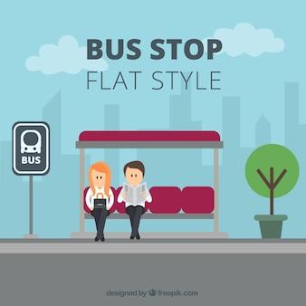 Pessoas esperando o ônibus com design plano