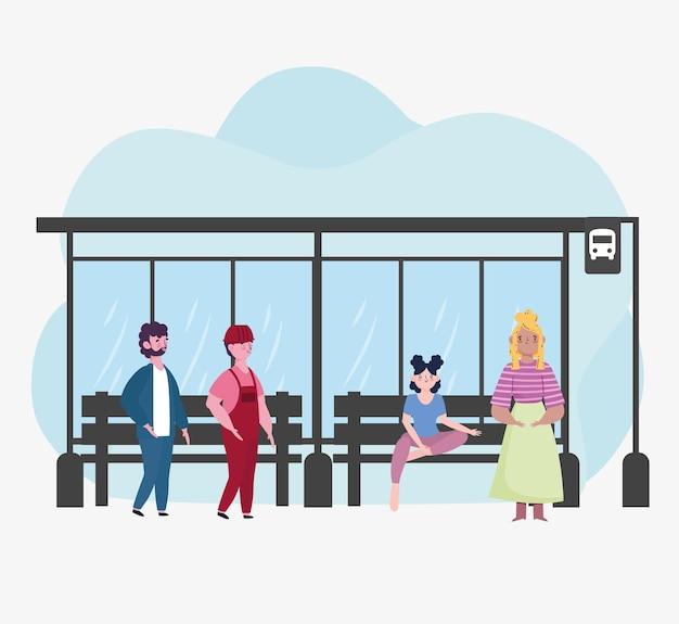 Pessoas esperando ônibus de parada
